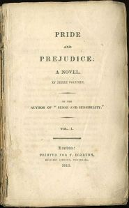 The original title page from the 1813 edition of Jane Austen's Price and Prejudice.